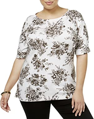 Karen Scott Womens Plus Floral Print Boat Neck Casual Top