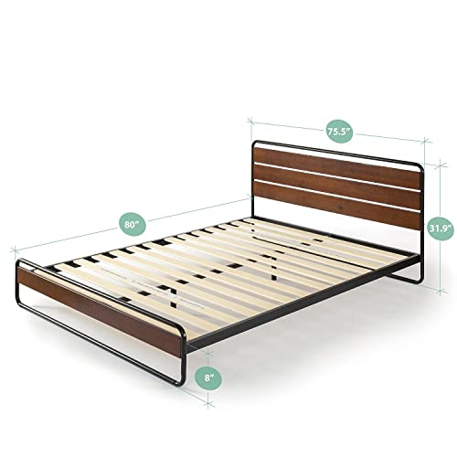 Zinus Therese Metal and Wood Platform Bed with Wood Slat Support, King