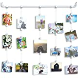Hanging Photo Organizer Rail With Chains and 32 Clips Cream Perfect For Collage Picture Craft Art Display Projects