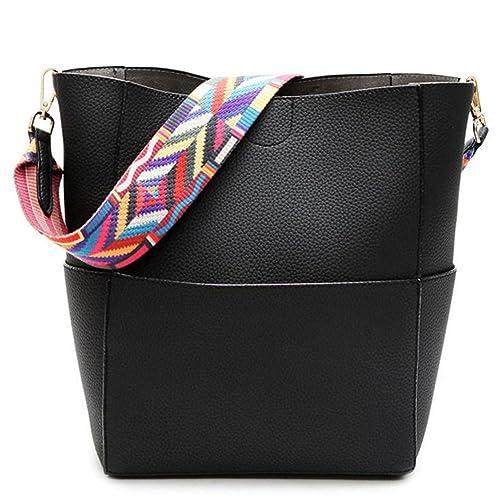 ff66ca0df1db Jiaruo Designer Bucket Bag Women Leather Wide Strap Shoulder Bag Handbag ( Black)