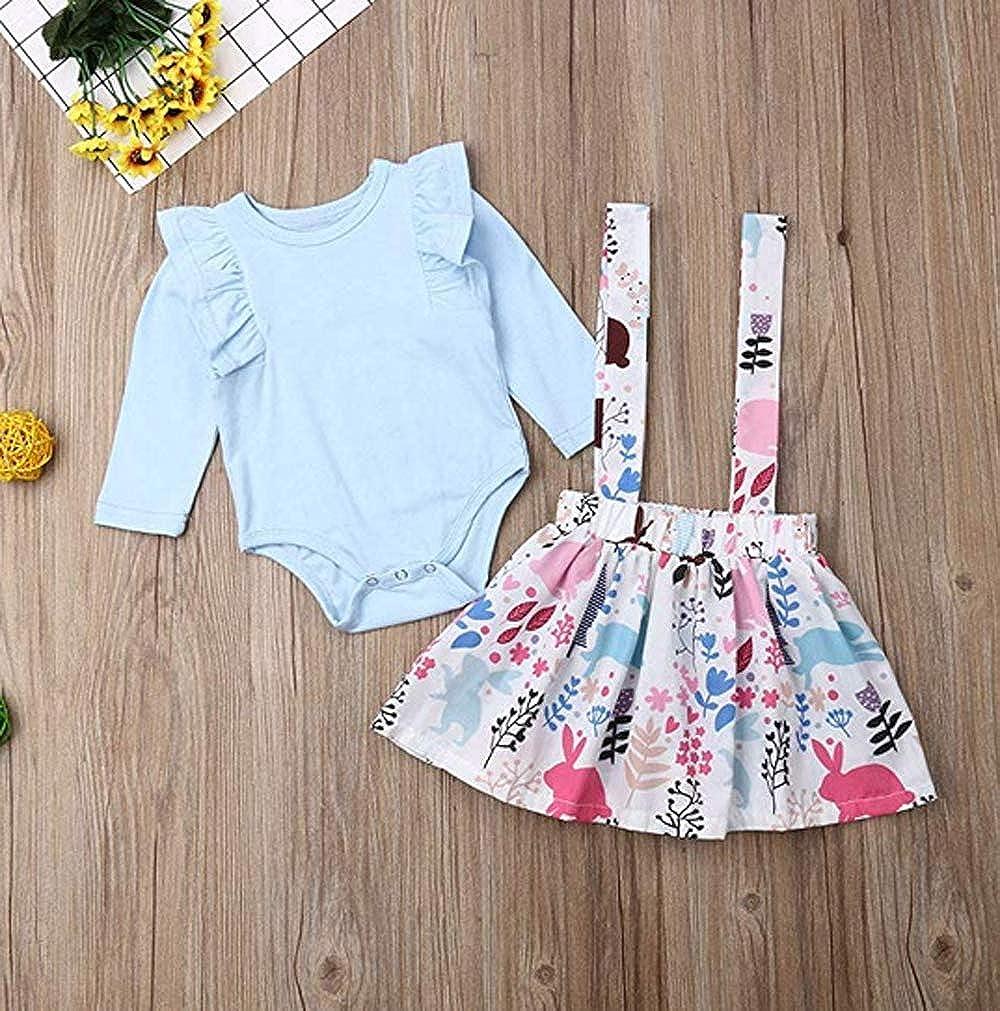 Neugeborenes Baby M/ädchen Rosa Outfits Set Kleidung Set Stricken Fliegender /Ärmel Romper Overalls Blumenhose Rock S/ü/ßer Kopfschmuck
