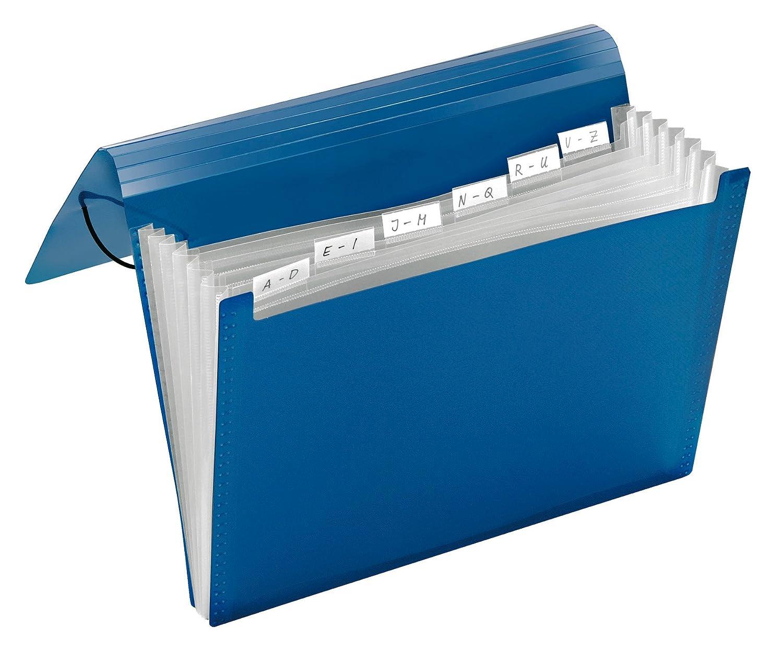 Carpeta archivadora tipo acordeón A4 6 compartimentos color azul transparente Veloflex 4445250