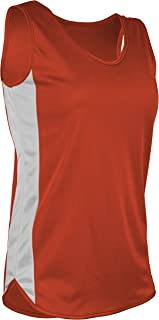 product image for TR-980W-CB Women's Athletic Lightweight Single Ply Track Singlet with Side Panels (Large, Orange/White)