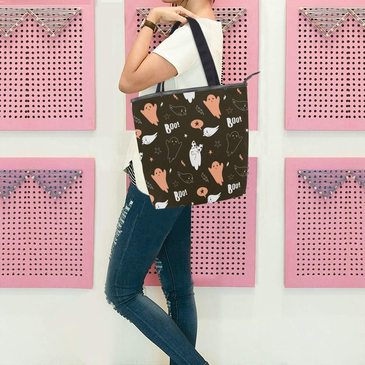 Happy Halloween Pattern Canvas Tote Bag,Fashion Large Capacity Handbag for Women Travel