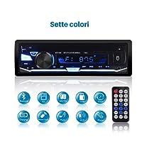 Autoradio Bluetooth Car Stereo, QINFOX Lettore multimediale digitale, autoradio ad una via, lettore da auto In-Dash Ricevitore USB / SD / TF / FM / audio Vivavoce con 7 colori chiari regolabili+pannello rimovibile