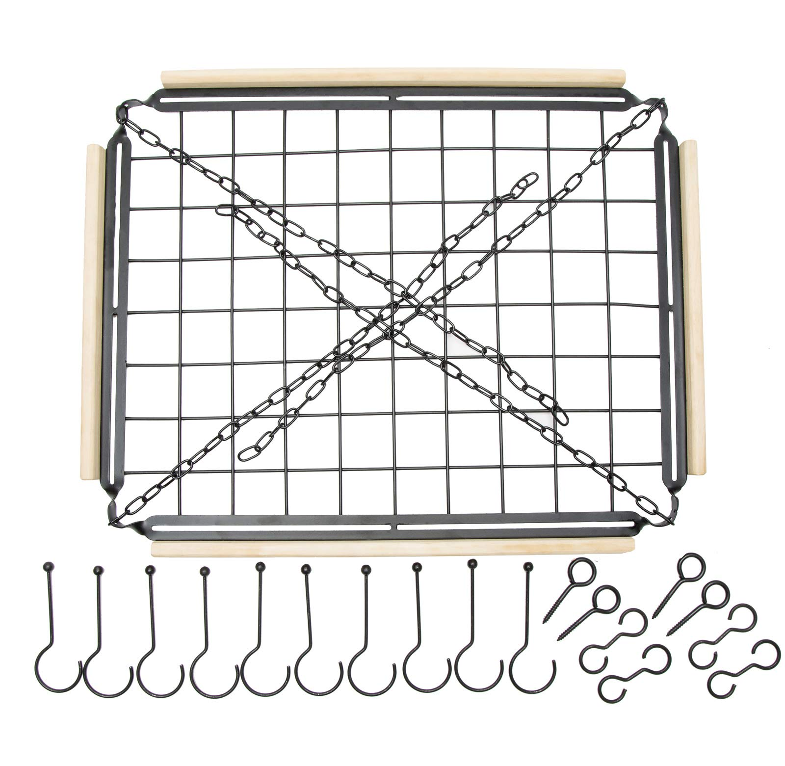 Soduku Pot Pan Rack with Shelf Grid, Ceiling Mounted Hanging Multi-Purpose Wood & Metal Cookware Hanger Organizer Kitchen Storage with 10 Hooks by SODUKU (Image #4)