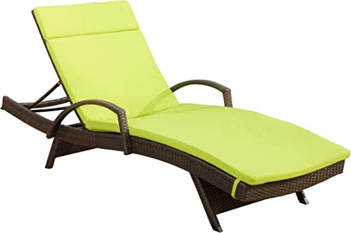 Christopher Knight Home Salem Outdoor Wicker Adjustable Chaise Lounge with Arms, with Cushion, Multibrown Green