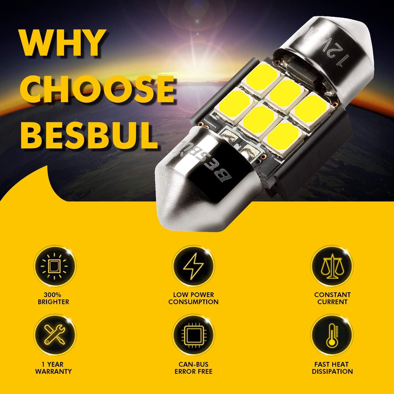 Map Light Pack of 4 Glove Box Courtesy Light Besbul DE3175 LED Bulb Canbus Error Free 6000K White Super Bright 31mm Festoon DE3022 DE3021 12818 LED Bulbs For Dome Light Trunk Light