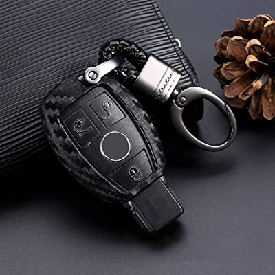 Royalfox(TM) Soft Silicone Carbon Fiber Style Smart keyless Remote Key Fob case Cover for Mercedes-Benz A C E S Class Series,GLK CLA GLA GLC GLE CLS SLK AMG Series Keychain (Benz Old Key)