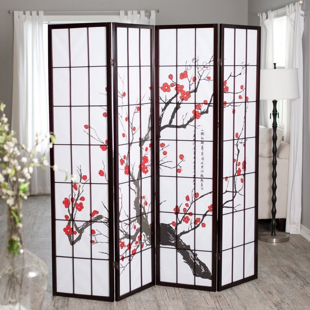 LA BOVA The Room Style Black Frame Cherry Blossom 4 Panel Room/Office Divider