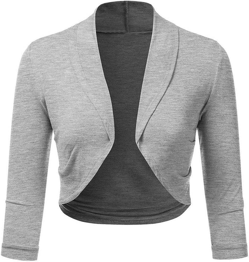 chaqueta punto gris corta mujer