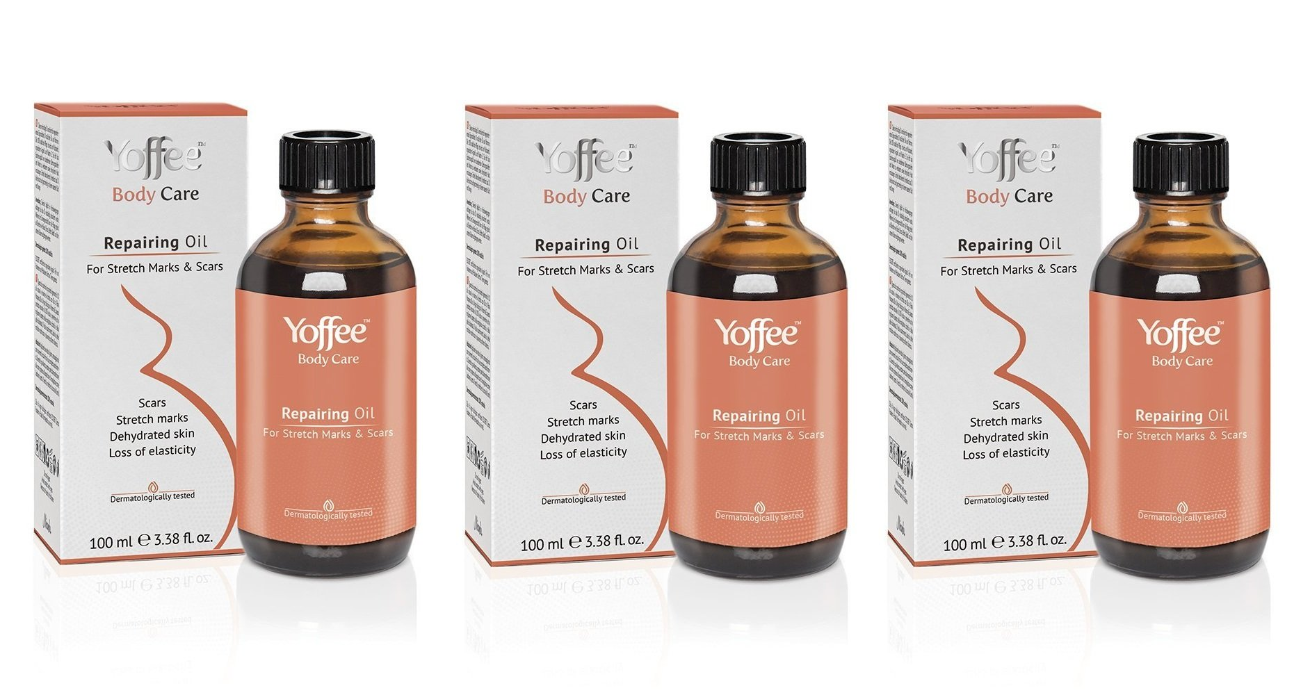 Yoffee Repairing Oil for Stretch Marks & Scars - 100% Natural Plant Oils to Reduce, Prevent & Fade Stretch Marks and Scars - for Men & Women Safe for Pregnant Women 100 ml/3.38 fl.oz (Pack of 3)