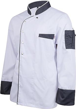 Clinotest - Chaqueta de Cocinero de Manga Larga con Cierre de botón a presión, Moda, Estilo Moderno: Amazon.es: Ropa y accesorios
