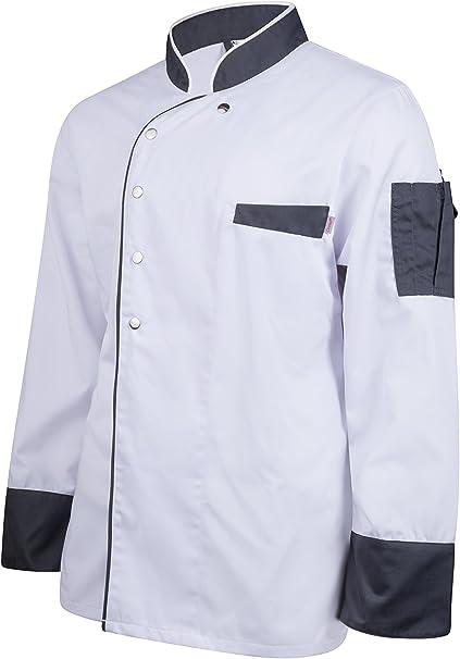 Koch Bäcker Jacke Kochjacke Bäckerjacke langarm Druckknöpfe weiß oder schwarz