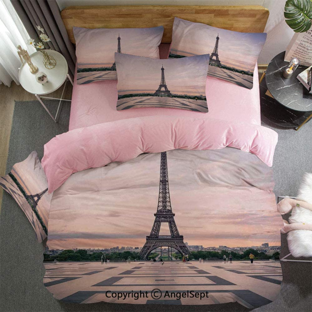 3 Piece Twin Bed Set Includes Reversible Comforter & Sheet Set Trocadero and Eiffel Tower at Sunshine Paris Skyline Historic Landscape View Super Soft Fade Resistant Pink for Girl