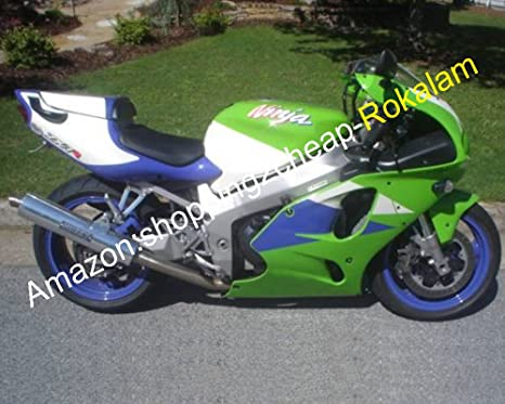 Amazon.com: White Green Blue Body Kit For Kawasaki Ninja ZX ...