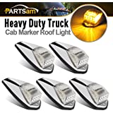 Partsam 5x Clear/Amber 17LED Cab Marker Top Clearance Lights w/ Chrome Base Truck Trailer Kenworth Freightliner