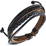 Zense - Bracelet homme cuir ajustable tendance Zense ZB0107 avec cordes tressées noires et marrons