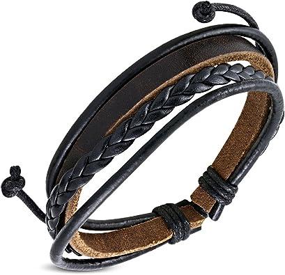 ZENSE , Bracelet Homme Cuir Ajustable Tendance ZB0107 avec Cordes tressées  Noires et Marrons