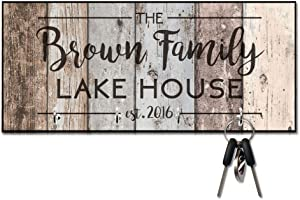 Personalized Rustic Wood Plank Look Lake House Key Hanger
