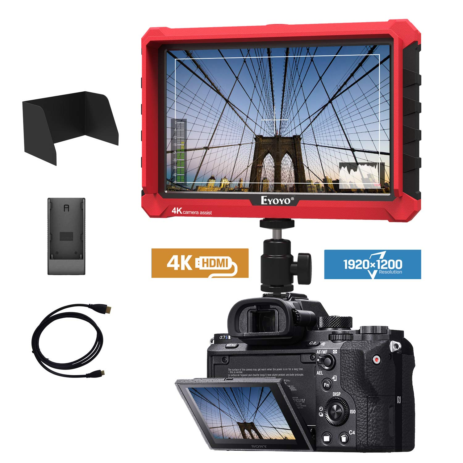 A7S 7 Inch On Camera Field DSLR Monitor 1920x1200 IPS Supports 4K HDMI Input Loop Output Camera-top Screen Compatible DSLR Mirrorless Camera Sony A7S II A6500 Panasonic GH5 Canon 5D Mark IV DJI Ronin by Eyoyo