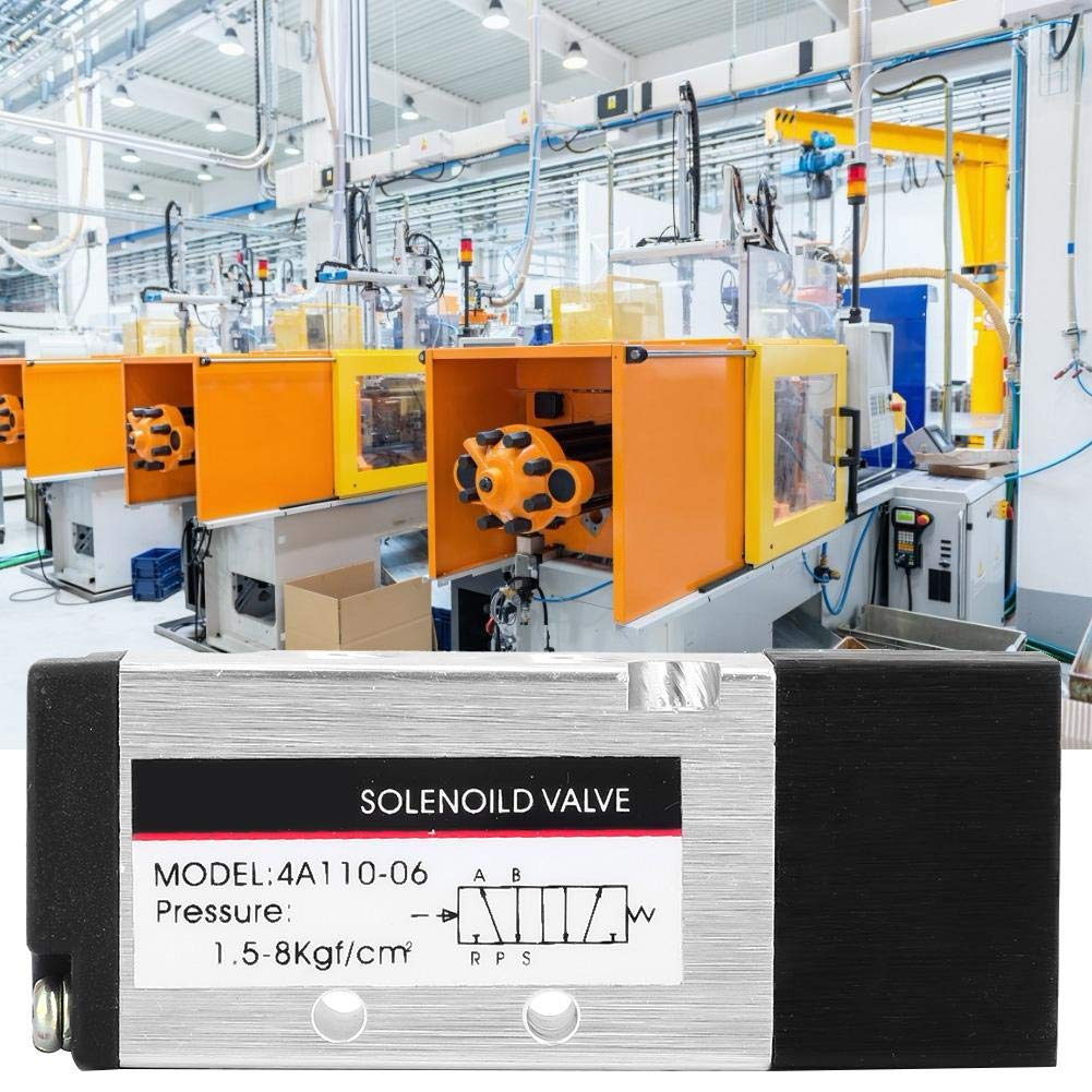 Compact Lightweight 4A110-06 Air Pneumatic Control Solenoid Valve 2 Position 5 Way PT1//8 1.0Mpa 0~60/°C Pneumatic Control Valve