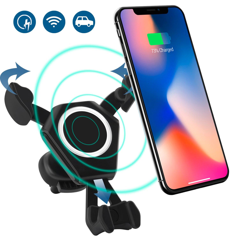 iPhone x 8 8plus車ワイヤレス充電器マウント電話ホルダー重力Linkage車ブラケットCradle Air Vent Qi高速充電他6 6s Samsung s8 s7 s6エッジ注8すべて4.7 – 6インチスマートフォン B07CWSXDXP