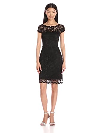 3d0322bc9e6e ONYX Nite Women's Short Stretch Lace with Cap Sleeve and V Back, Black, ...