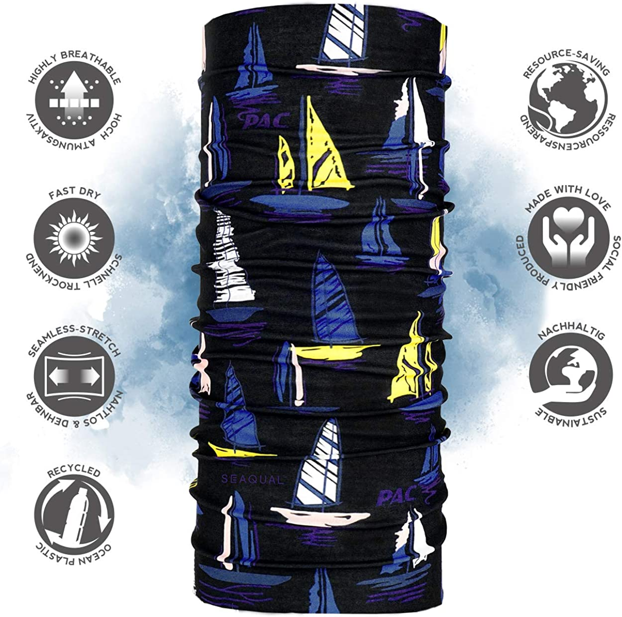 nahtloses Halstuch verschiedenste Designs Schal Unisex 10 Tragevarianten Ocean Upcycling Multifunktionstuch P.A.C nachhaltiges Schlauchtuch Stirnband aus Meeresplastik hergestellt Kopftuch