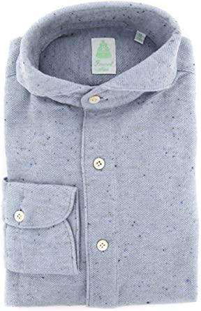 Finamore Napoli Solid Button Down Spread Collar Cotton Slim Fit Dress Shirt