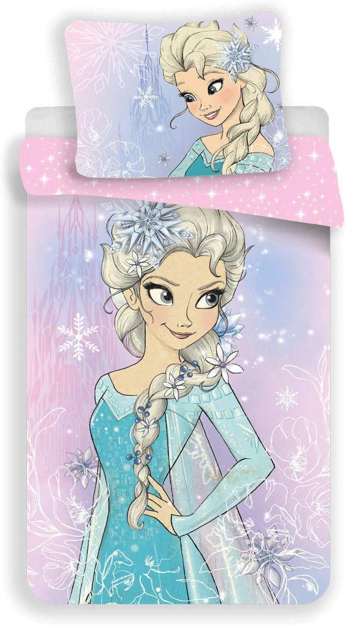 Disney Frozen Elsa - Juego de funda nórdica para cama individual y funda de almohada, 140 x 200 cm, algodón original