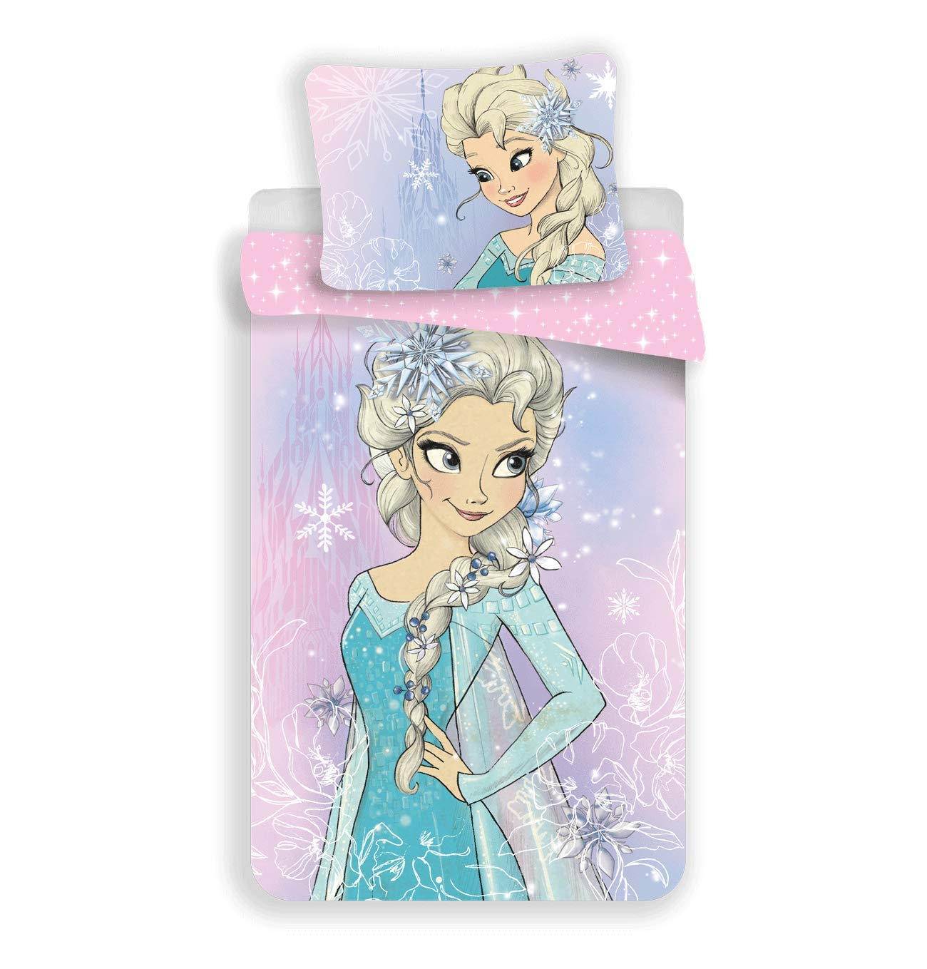 Housse de Couette Coton Reine des neiges Elsa Parure de lit Enfant