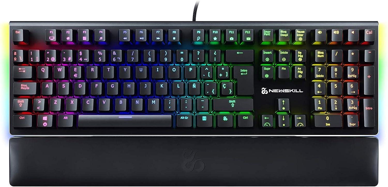 Newskill Serike Switch Blue - Teclado Mecánico Gaming con Reposamuñecas Plegable Incluido (Teclas con grabación Macro, 20 Modos de iluminación RGB) - ...
