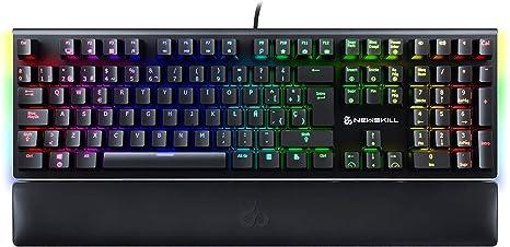 Newskill Serike Switch Red - Teclado Mecánico Gaming con Reposamuñecas Plegable Incluido (Teclas con grabación Macro, 20 Modos de iluminación RGB) - Color Negro: Amazon.es: Informática
