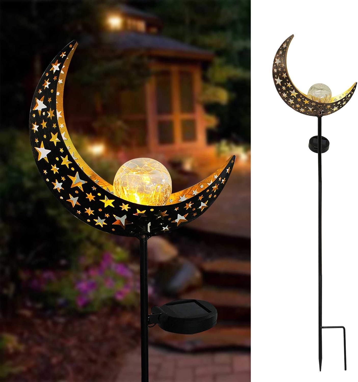 X-PREK Solar Garden Light Outdoor Decorative,Led Moon Shape Crackle Glass Globe Metal Stake Lights for Yard Patio Pond Pathway Festival Decor(Moon)