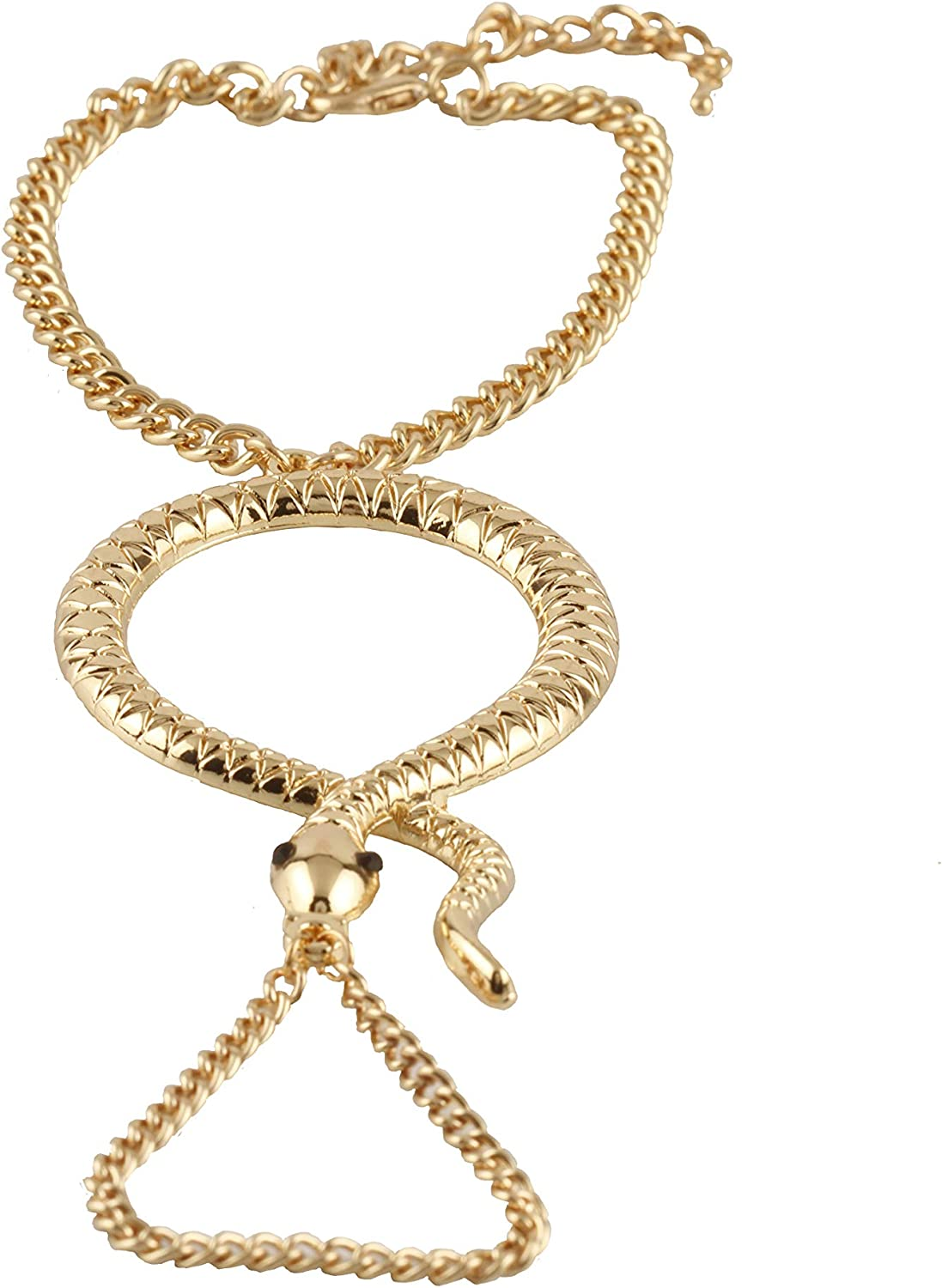JOTW Goldtone Snake Adjustable Finger Ring and Hand Chain Bracelet: Snake Jewelry: Jewelry