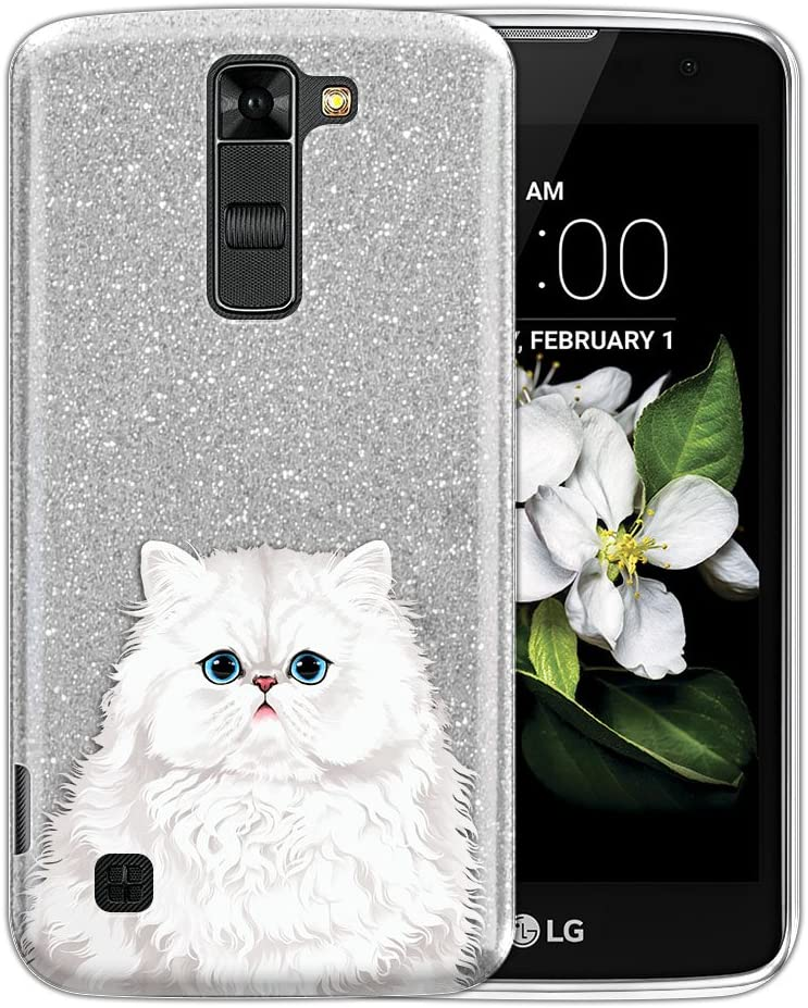 FINCIBO Case Compatible with LG K7 Tribute 5 LS675 MS330/ M1/ Treasure, Shiny Sparkling Silver Bling Glitter TPU Protector Cover Case for LG K7 Tribute - Cute Snow White Persian Cat