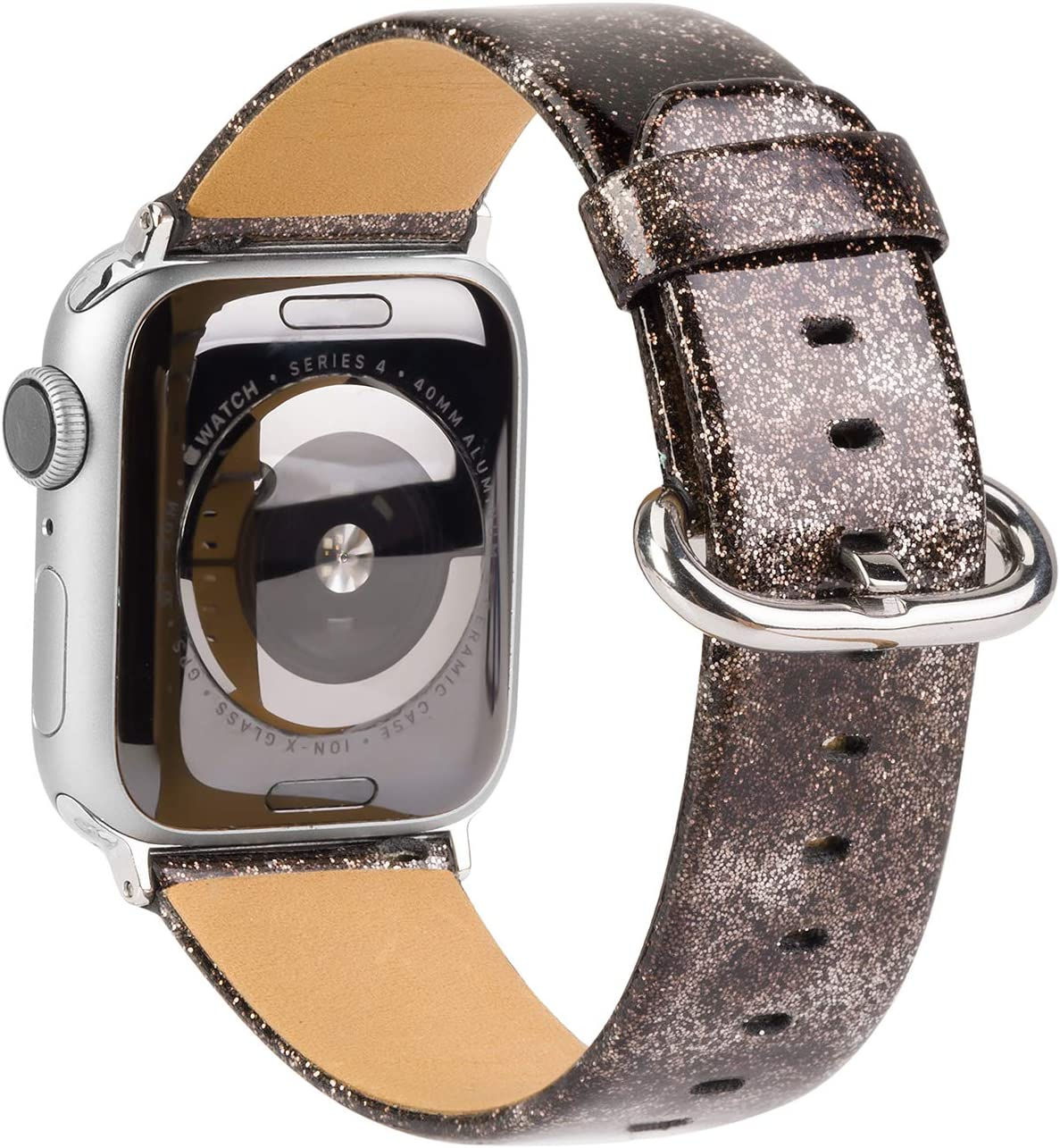 TOYOUTHS Glitter Leather Bands Compatible with Christmas Apple Watch Bands Rose Gold 38mm 40mm Womens Bling Diamond Dressy Genuine Shiny Strap for iWatch Series SE 6 5 4 3 2 1