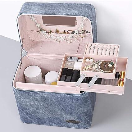Caja de almacenamiento de maquillaje Estuche portátil para cosméticos Estuche para cosméticos de gran capacidad para mujeres, de gran capacidad, de múltiples capas,J: Amazon.es: Belleza