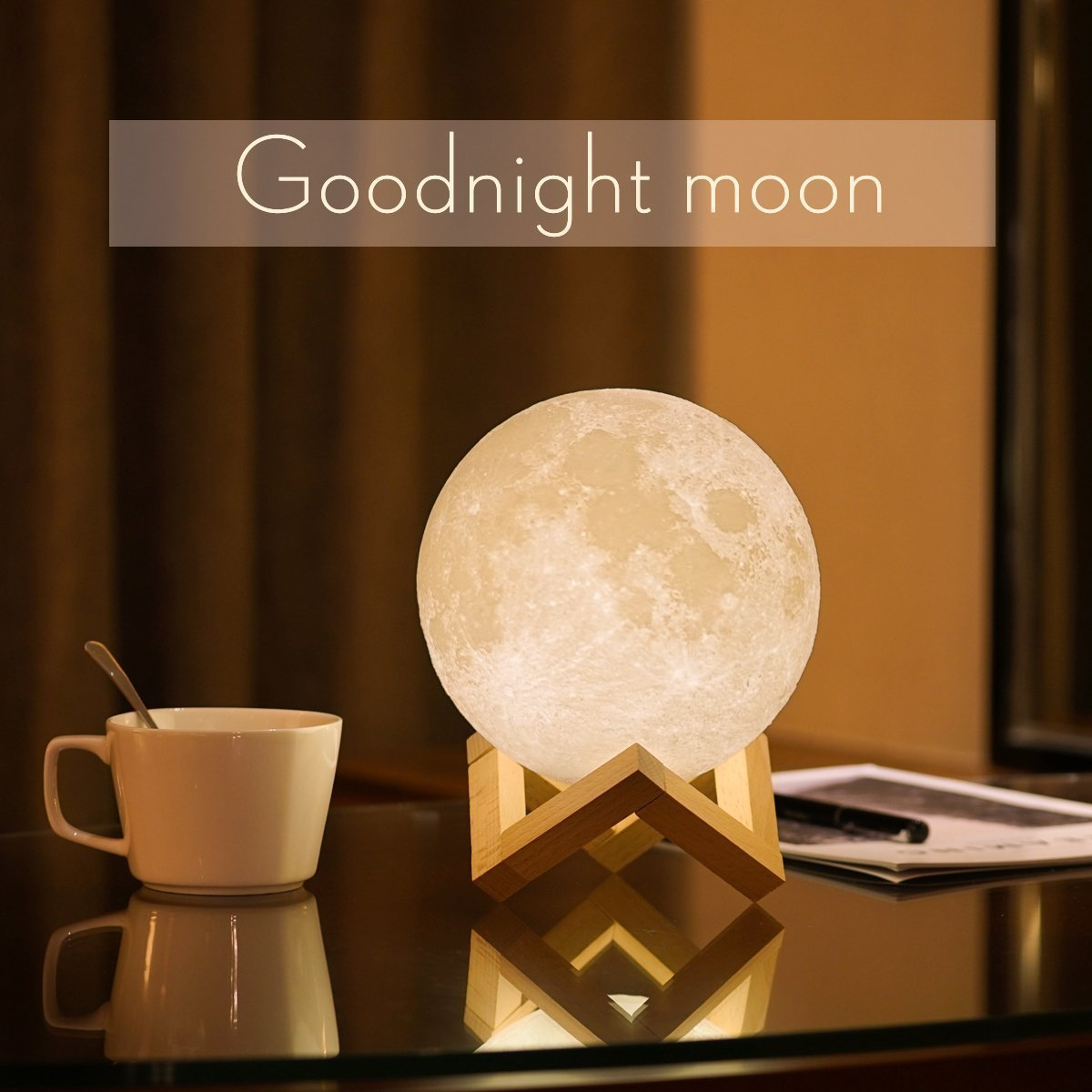 3d moon lampusb led night light magical lunar table lamp moonlight 3d moon lampusb led night light magical lunar table lamp moonlight gift two tone touch sensor with wooden holder portable box10cm394inch arubaitofo Image collections
