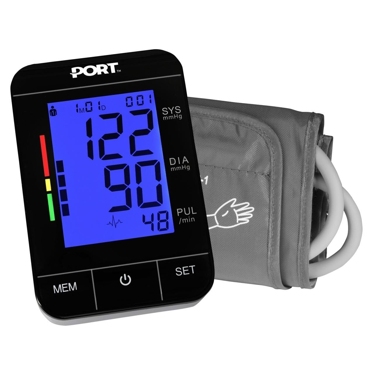 Digital Blood Pressure Monitor By P OR T Backlit LCD Large Display, Adjustable Cuff, Automatic And Easy To Use, Battery Operated And Portabl e, Memory Function For 2 Users, With Heartbeat Monitor