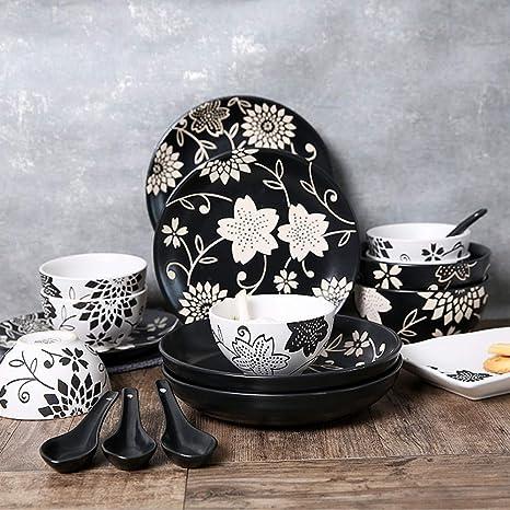 Vajilla platos japoneses cubertería juego tazón de cerámica plato color esmalte Japonés vajilla impresión hecha a