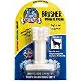 Bullibone Brusher - Dog Teeth Cleaning Bones for Small Dogs | Dog Dental Chews Peppermint Baking Soda | Dog Plaque Remover Improves Oral Health.