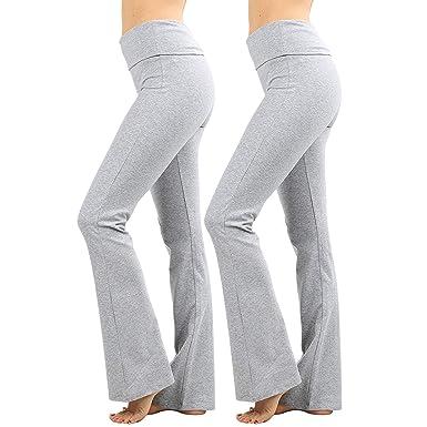 6a5c9dd27c96d NUNU in LA Womens & Plus Foldover Stretch Waist Bootleg Cotton Workout Yoga  Pants, (