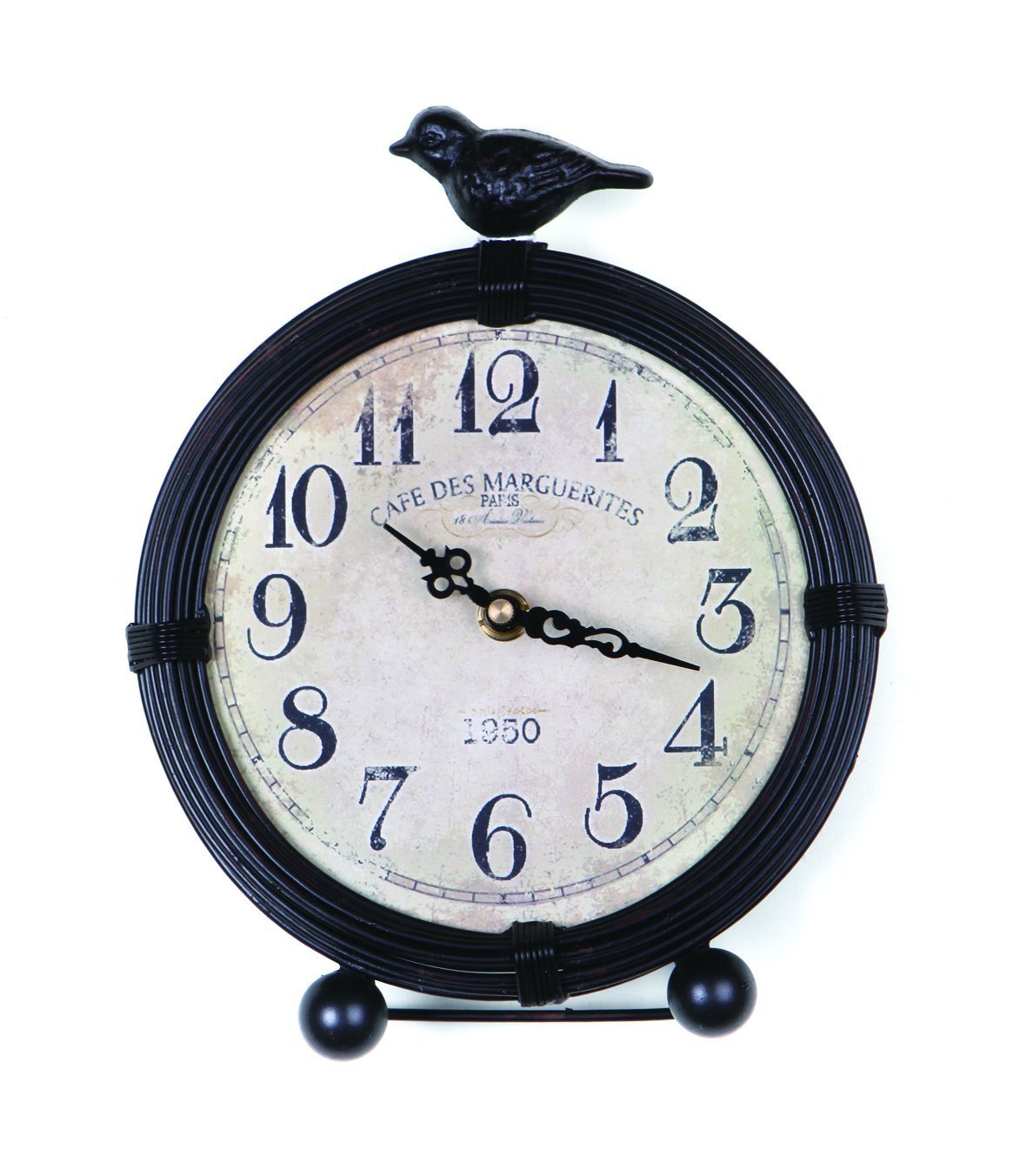 NIKKY HOME Vintage Cottage Metal Table Clock with Bird, 6.8 by 2 by 8.5 inches, Black