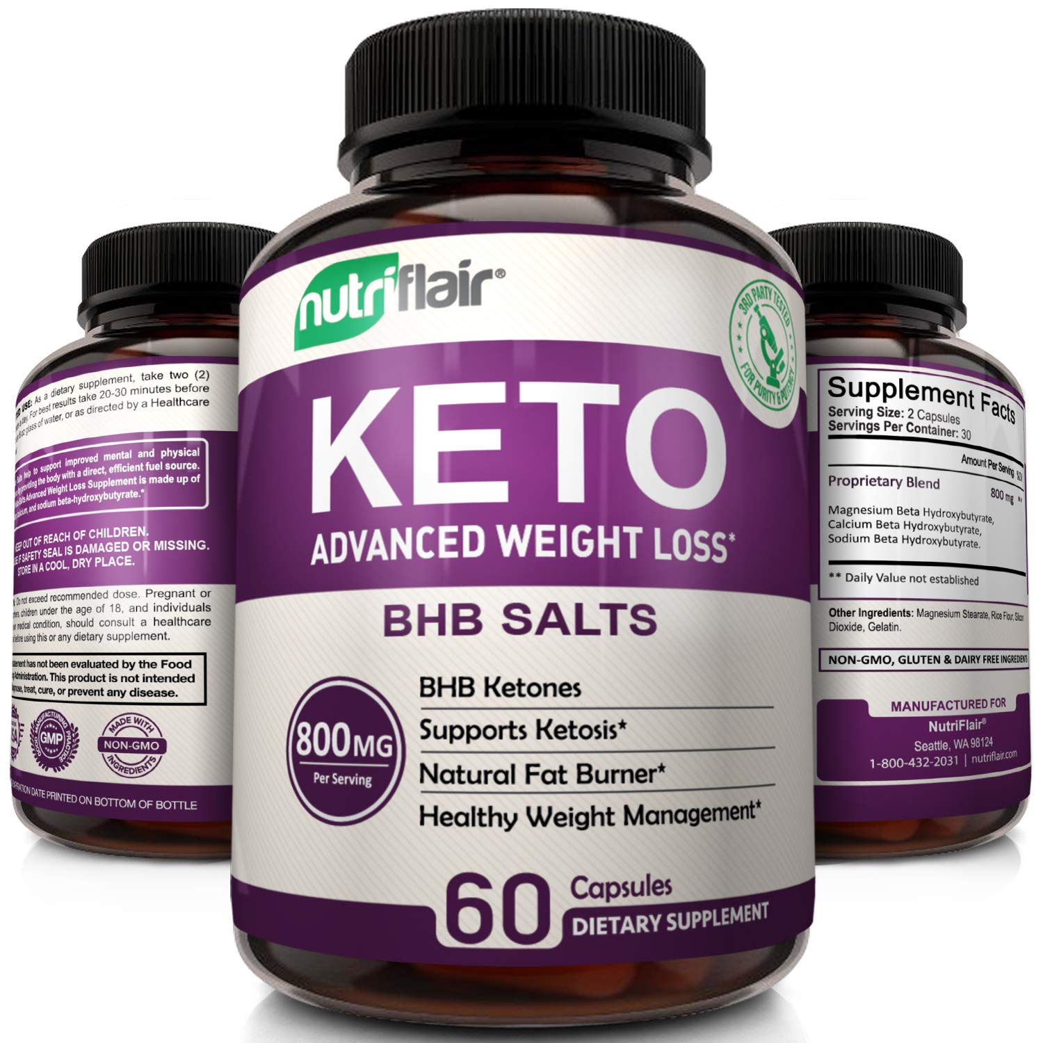 Keto Diet Pills - 800mg Advanced Weight Loss Ketosis Supplement - All-Natural BHB Salts Ketogenic...