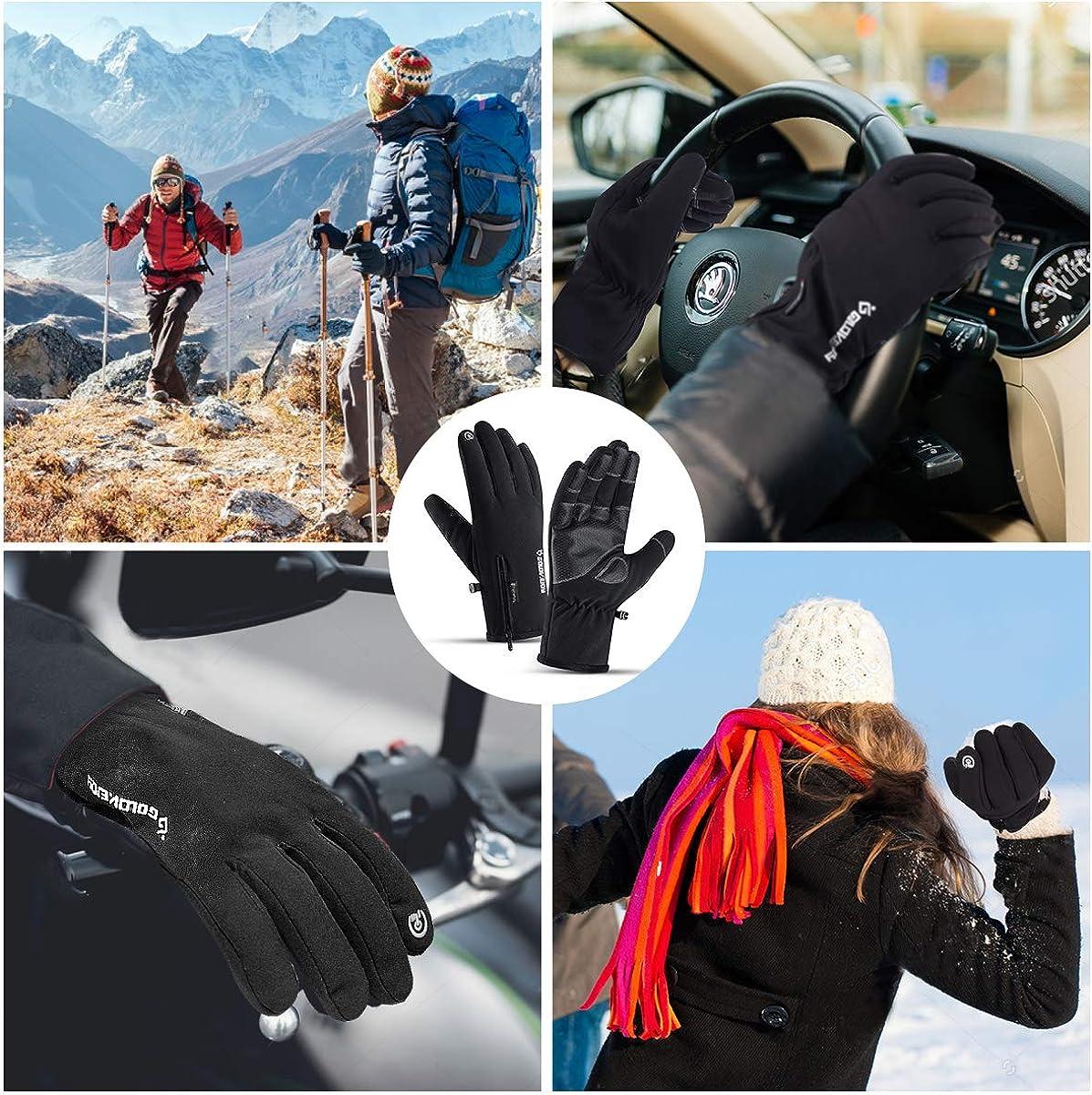 30℉ Waterproof Winter Gloves for Men Women 10 Touch Screen Finger for Ski Snow
