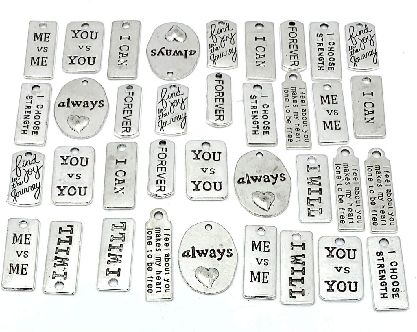 40Pcs DIY Lovely Love Words Pendant Charm Beads Women Jewelry Handcraft Material