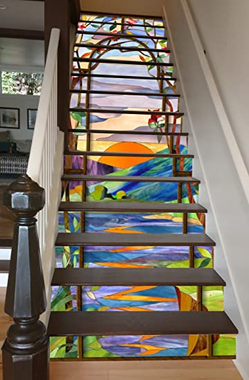 Amazon Com Stained Glass Sunrise 31 X 8 Painted Stairway