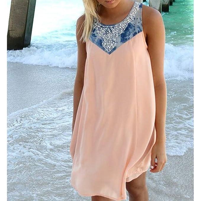 Signore Vestito Abiti Estivi Vestito di Perle Chiffon Camicia Boho Lunga  Donne Abito Corti Vestiti da Spiaggia Mini Abiti Senza Maniche Costumi da  Spiaggia ... 84c1f2e3234